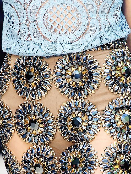 Blue Burberry SS 2014 Embellished Skirt