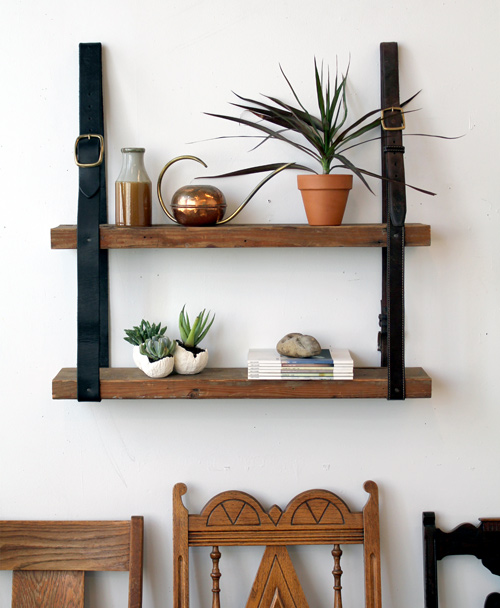 Design Sponge Leather Wood Shelf