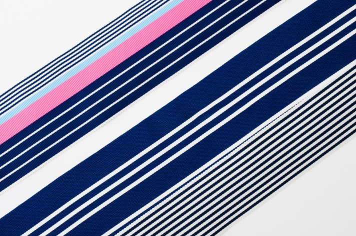 Nautical Striped Grosgrain in Navy and White