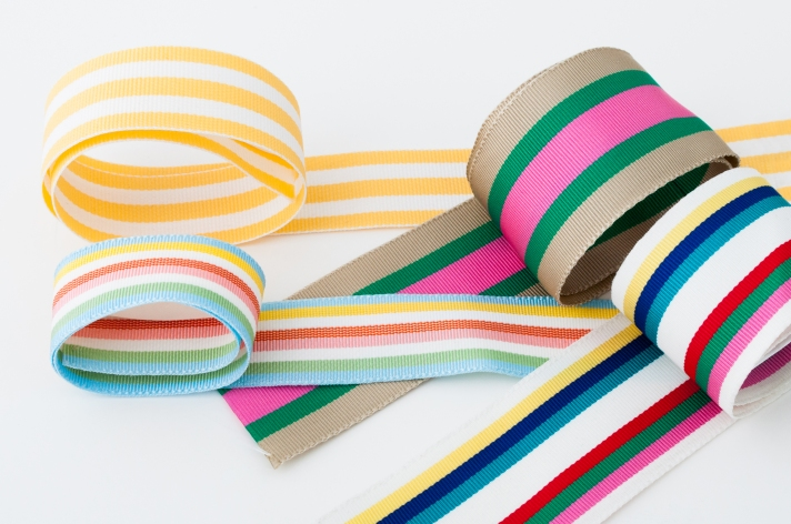Spring Style Grosgrain Ribbon in Striped Pattern