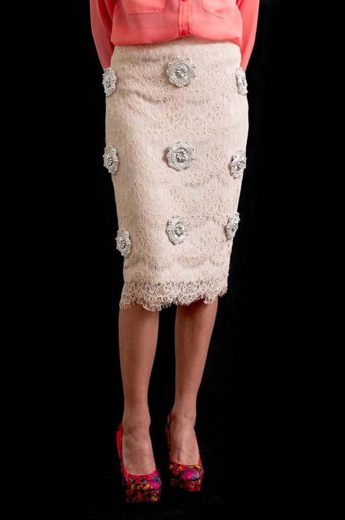 Finished Lace and Rhinestone Skirt