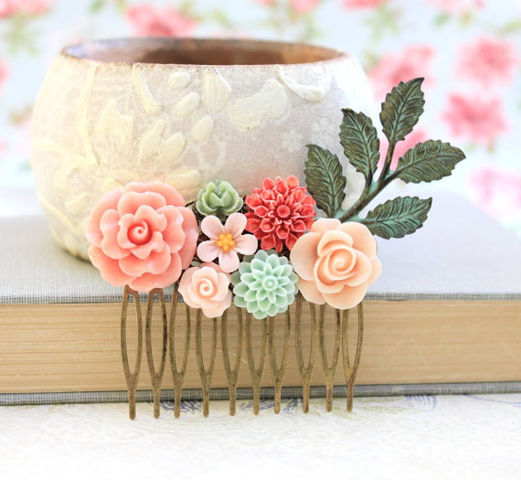 Flower Hair Comb from Etsy