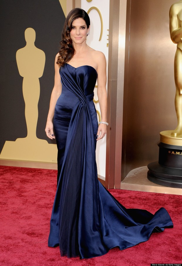 Sandra Bullock in Navy Dress at Oscars