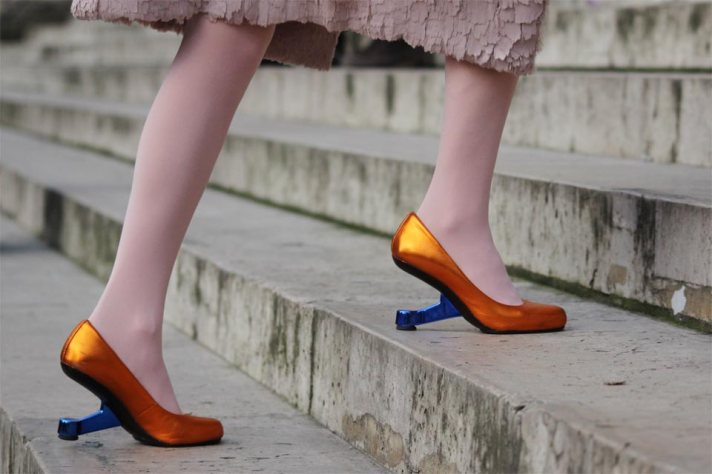 Orange and Blue Heeled Shoes
