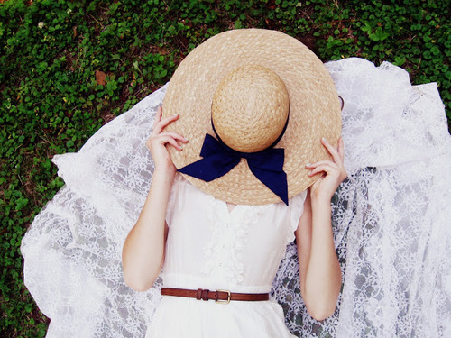 Straw Hat With Blue Bow
