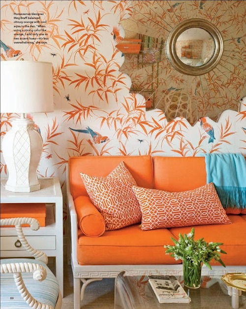 Orange Couch with Blue Accents