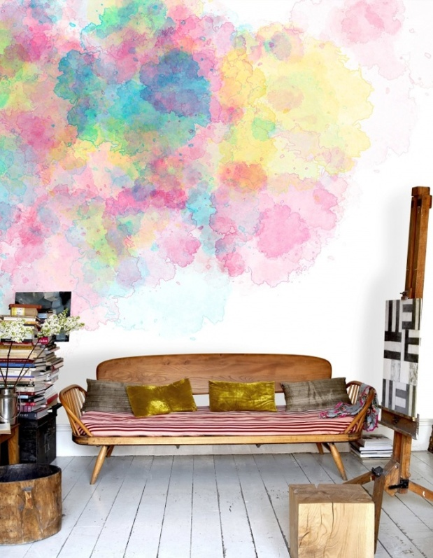 Watercolor Burst Mural