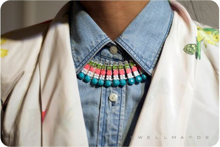 Painted Rhinestone Necklace by Swell Mayde