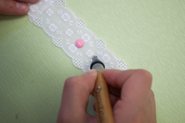 Laying Out Pattern with Rhinestones