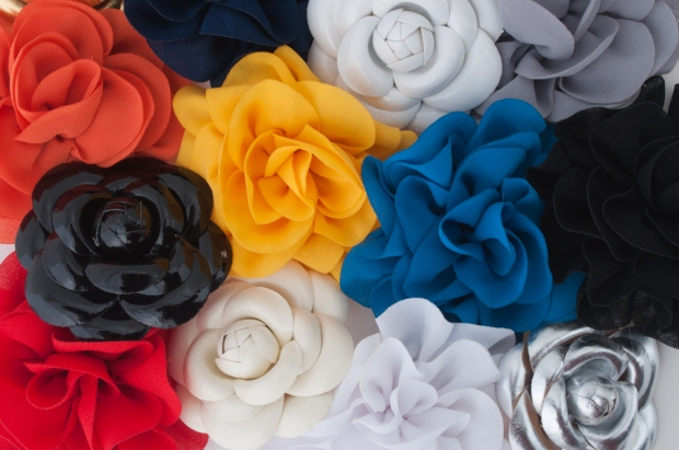 Patent Leather and Chiffon Flower Pins