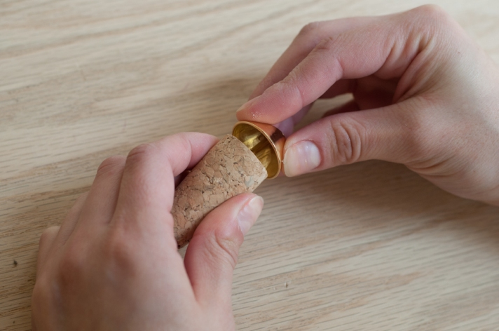 Creating Hole in Cork with Button