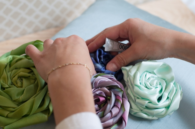 Gluing Flowers to Pillow
