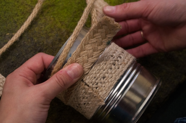 Gluing Jute Trim to Metal Can