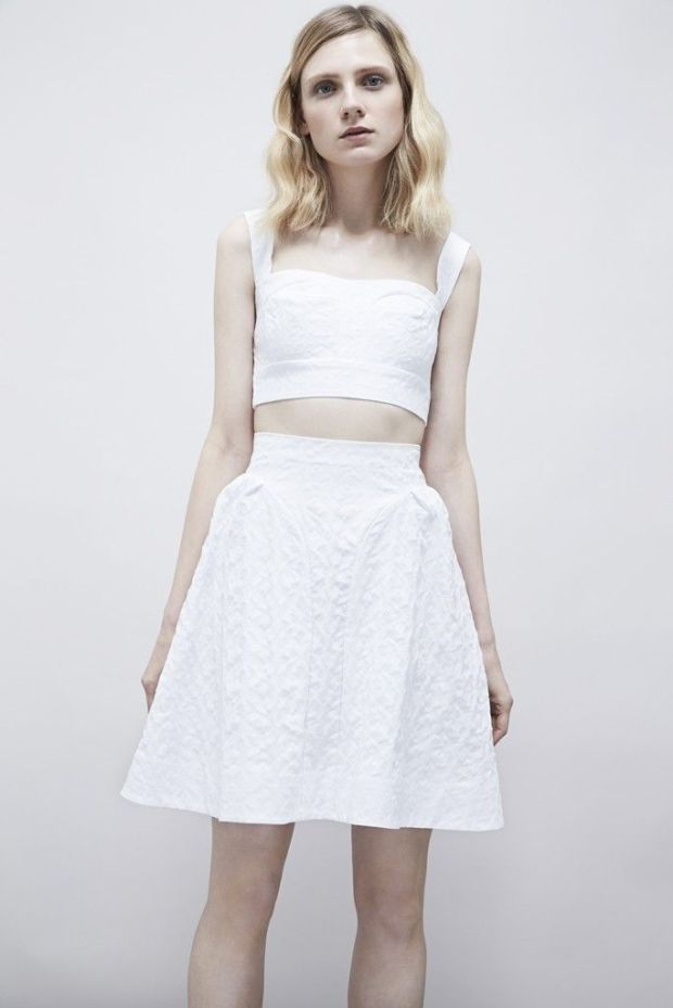 White circle skirt and crop set