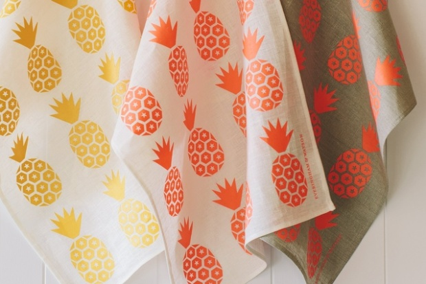 Fruity Pineapple Textiles in Orange and Red