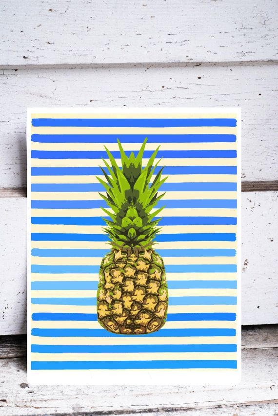 Blue and White Striped Pineapple Print