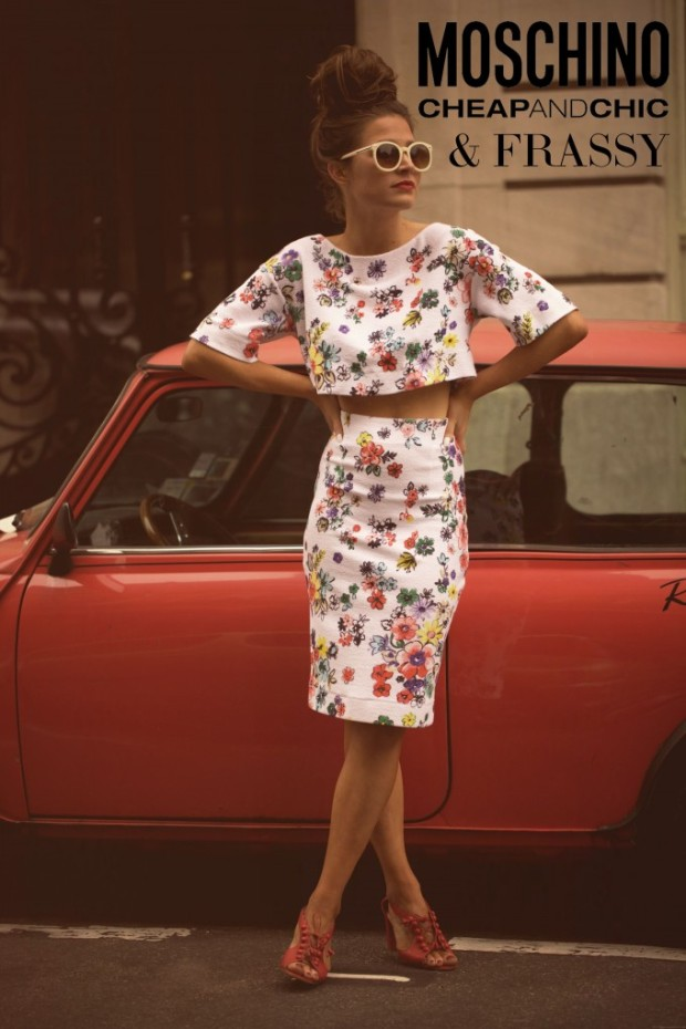 Coordinating Floral Print Crop Top and Skirt Set