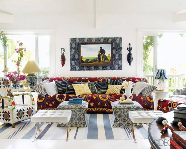 White Patterned Living Room