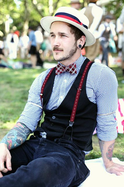 Suspenders and Hat Fashion