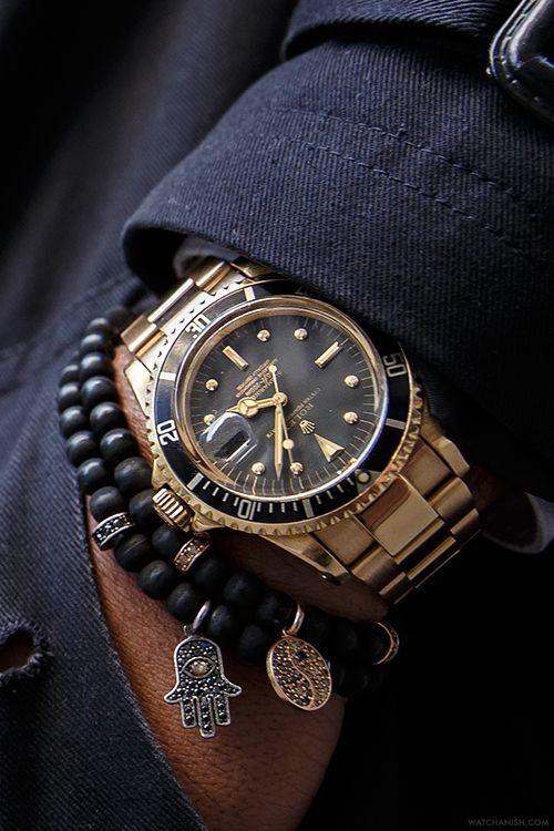 Rolex Watch with Beaded Bracelets