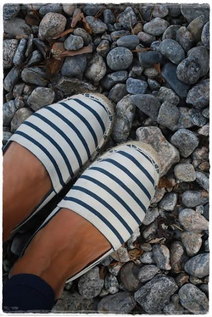 Blue Striped Espadrille Flats