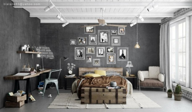 industrial-hanging-pendant-lights-and-grey-interior-wall-decor-1030x602