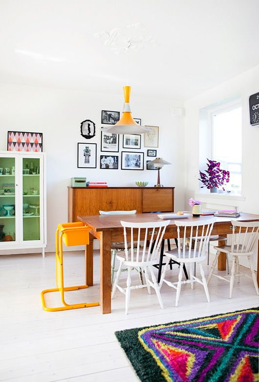 High Contrast Dining with Mustard Accents