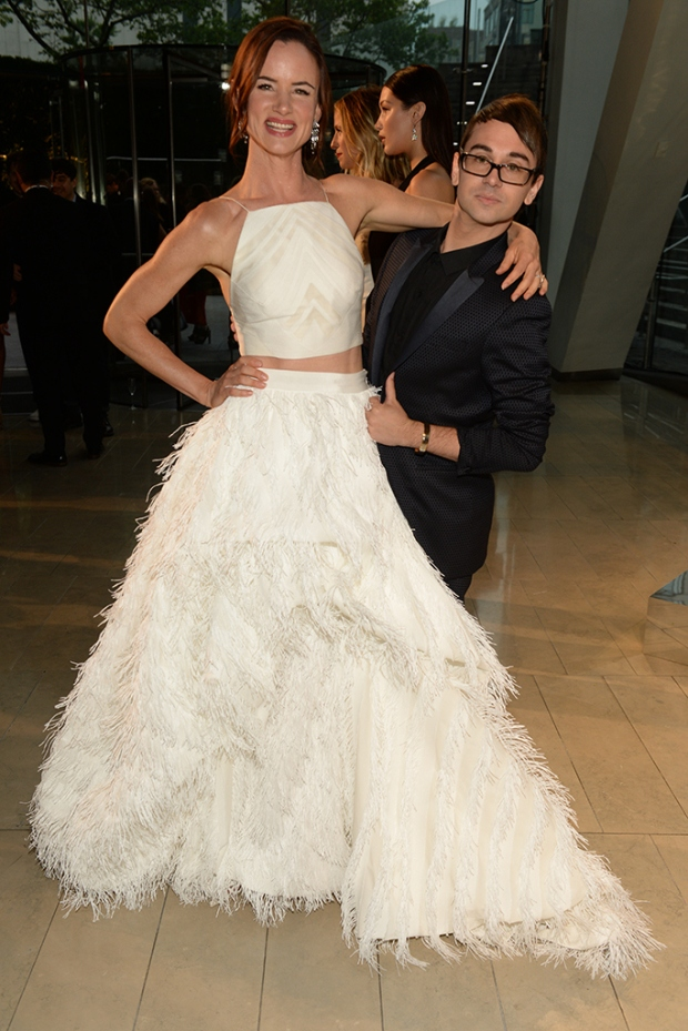 Juliette Lewis in Christian Siriano with the designer.