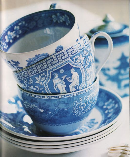 M&J Trimming: Greek Key Blue and White Tea Cups