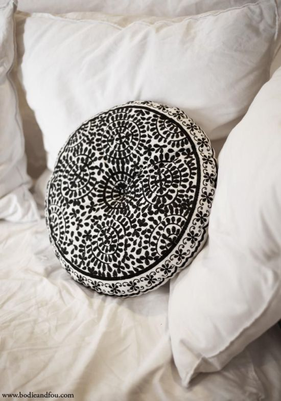 M&J Trimming: Embroidered Black Cushion