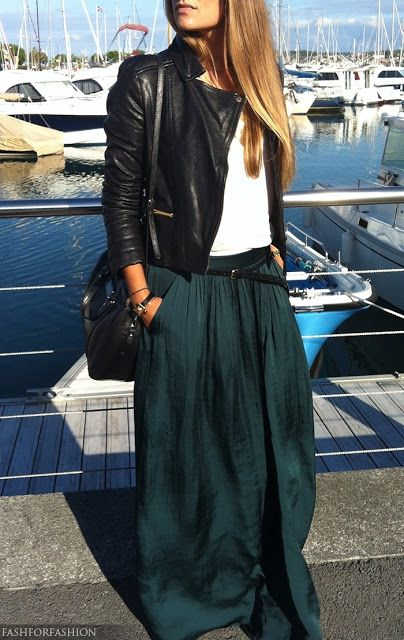 M&J Trimming: Maxi Skirt with Leather Jacket