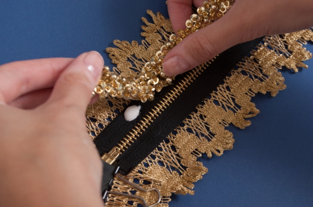 M&J Trimming: Gluing Beaded Trim to Zipper