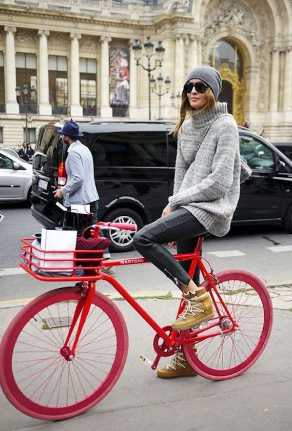 M&J Trimming: Red Bicycle and Grey Outfit