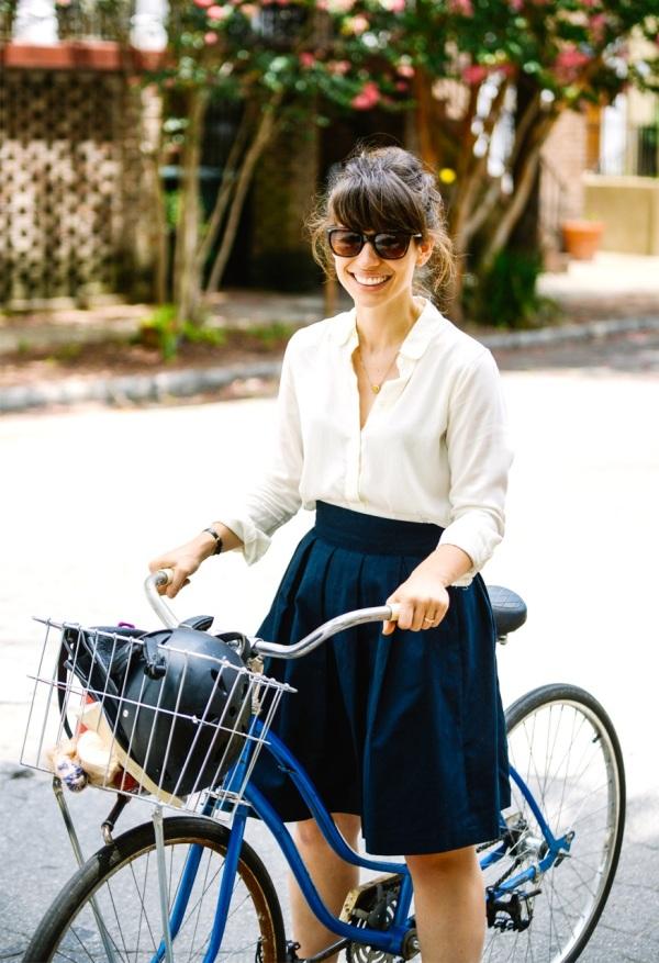 M&J Trimming: White Dress and Blue Skirt