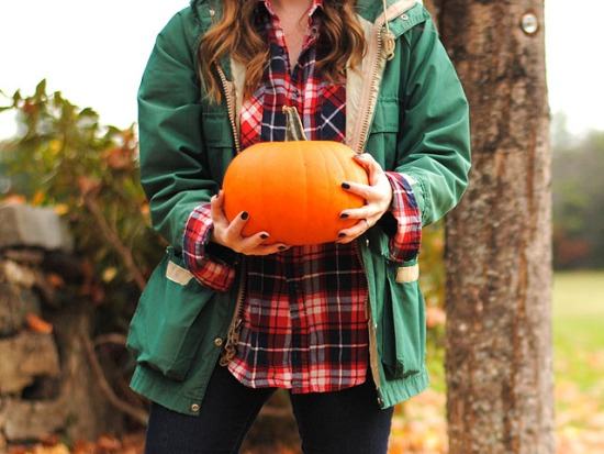 woodland fall outfit llbean plaid pumpkin